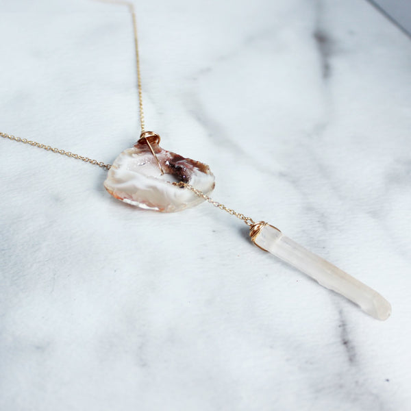 The Geode and Crystal Lariat Necklace-M.Liz Jewelry