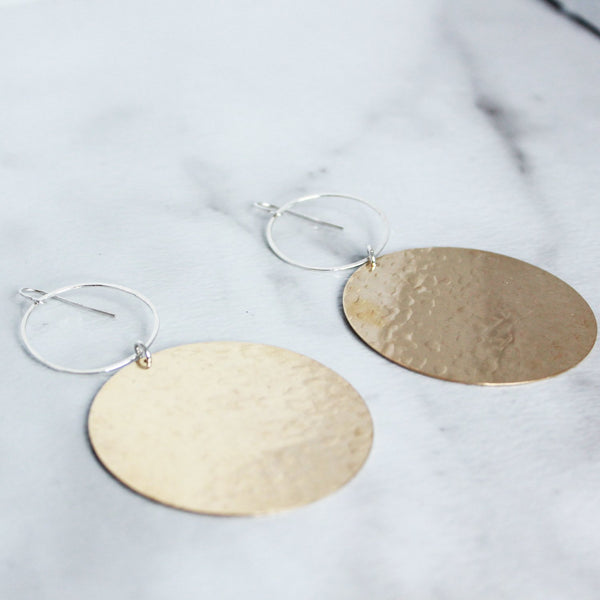 The Hoop and Brass LG Earrings-M.Liz Jewelry