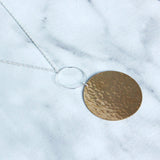 The Long Hoop and Disc Necklace-M.Liz Jewelry