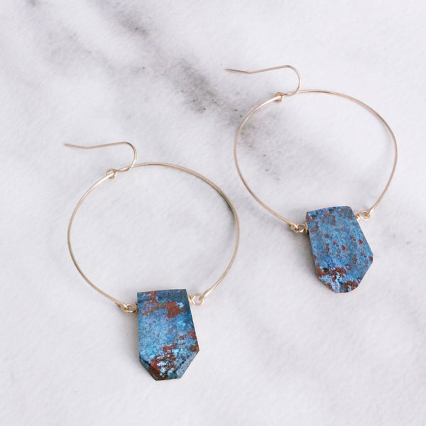 The Wire and Gemstone Pendant Earrings Wholesale-M.Liz Jewelry