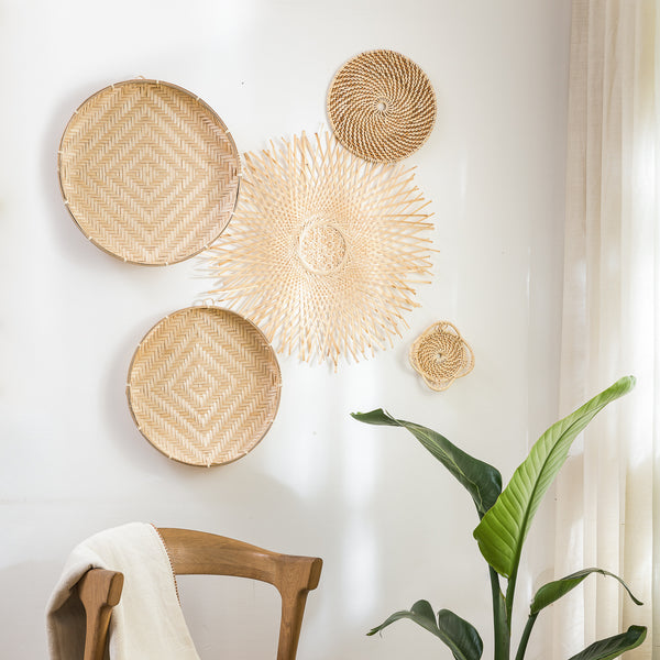 Bamboo & Rattan Baskets - Set of 5