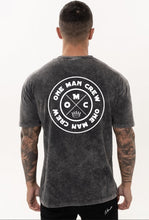 Load image into Gallery viewer, One Man Crew-Black stonewash T shirt