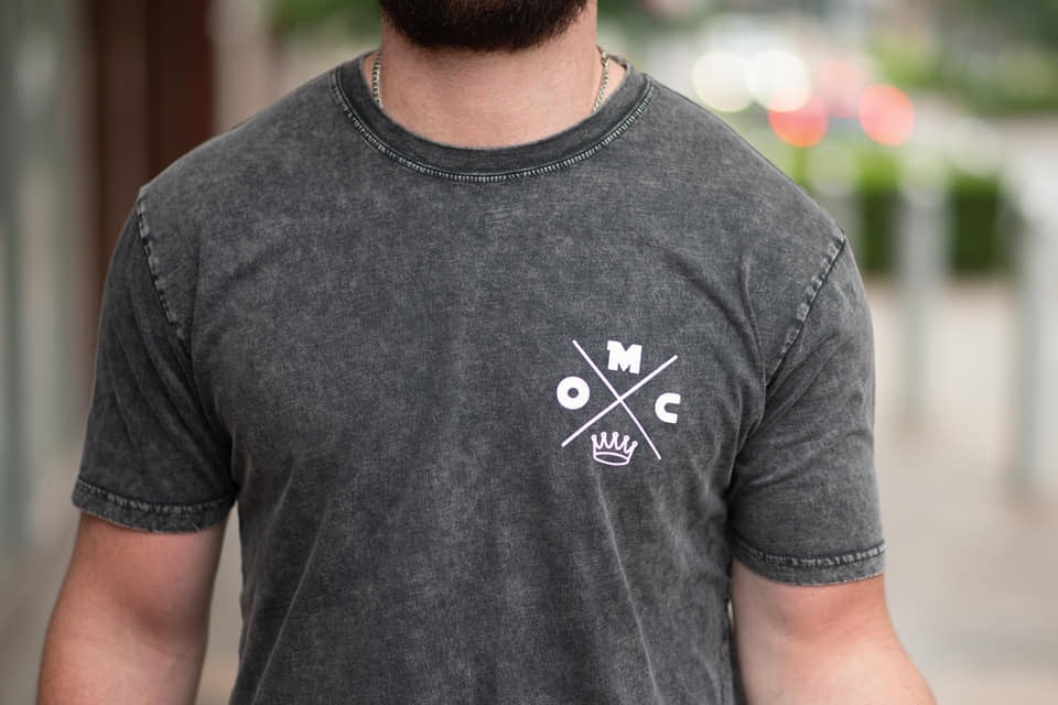 One Man Crew-Black stonewash T shirt