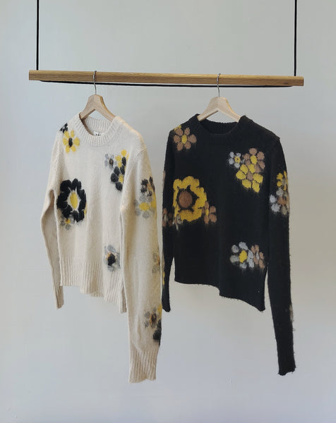 Mohair flower sweater