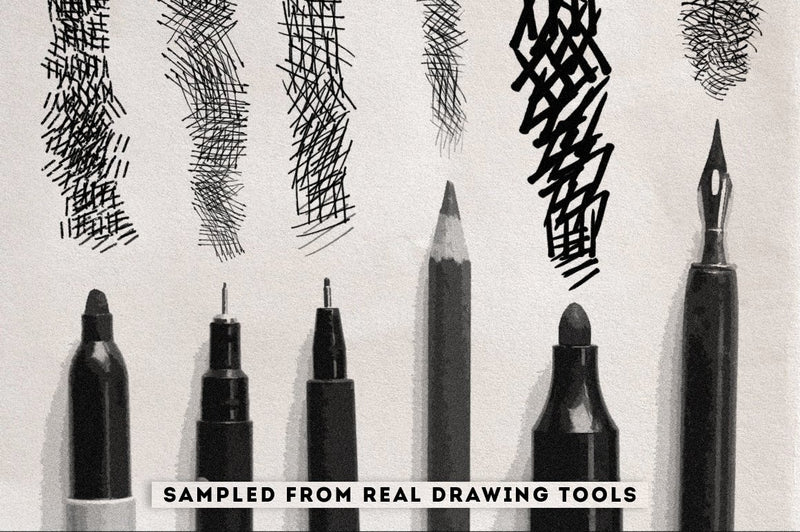 Crosshatching Procreate Brushes