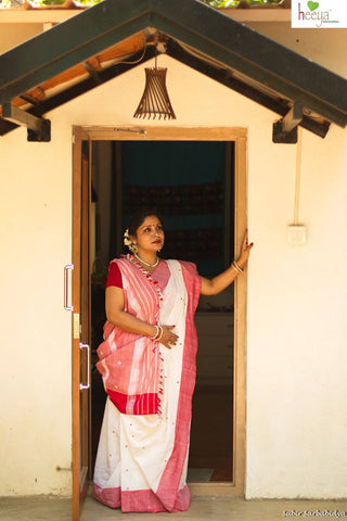Ms Sanyal Dutta is an ardent handloom supporter- here she is wearing a  saree made by women weavers of Assam