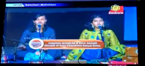 Students performing on a Television Music show, Sanchari Mahotsav