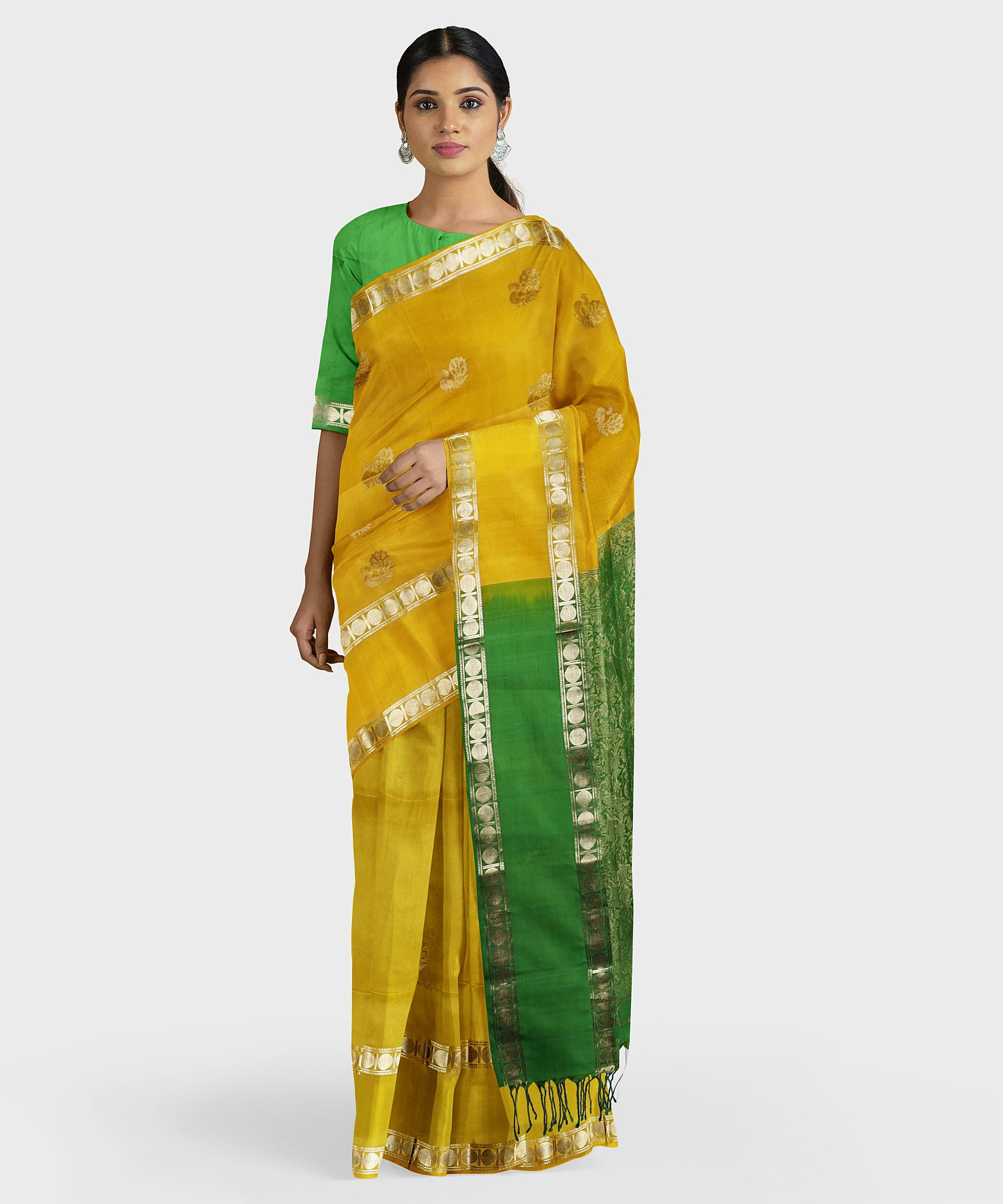 Turmeric and green Kodiyala silk handloom saree