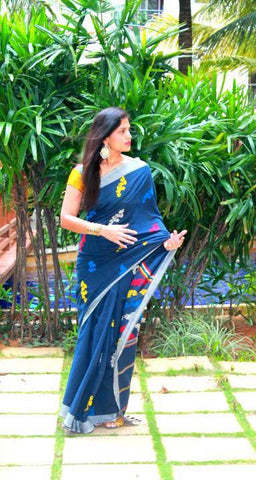 Blue Mishing saree