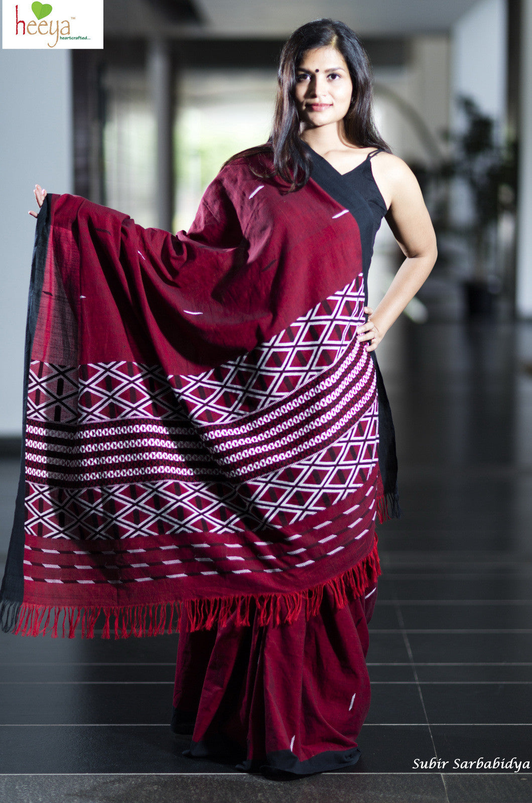 Maroon cotton Gero saree