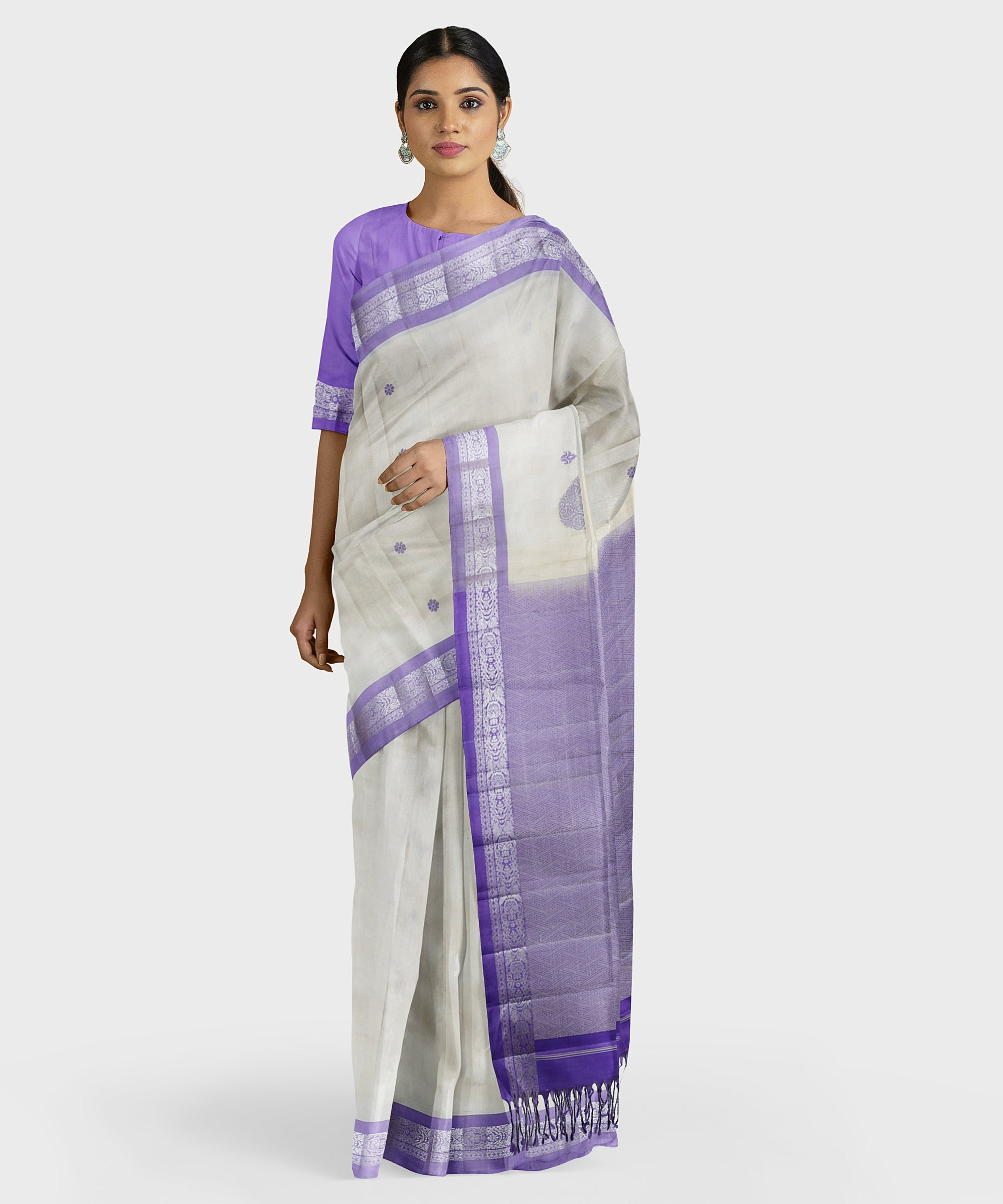 Purple Katan border Kodiyala handloom silk saree
