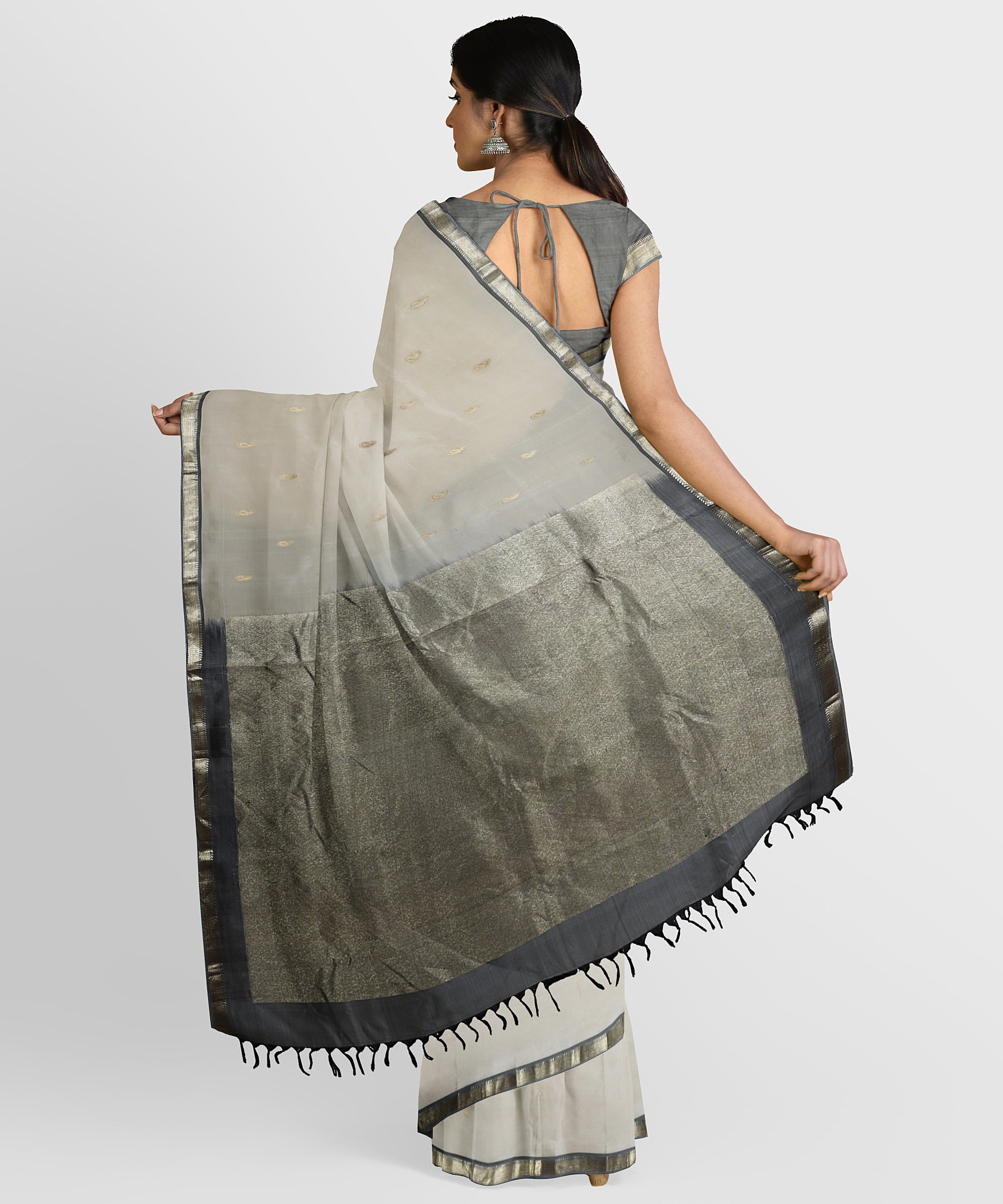 Ivory Pure silk handloom sari with pastel green pallu