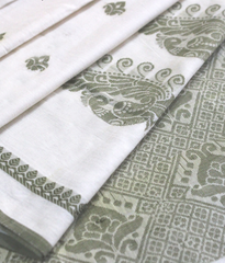 White soft cotton saree with olive green pallu