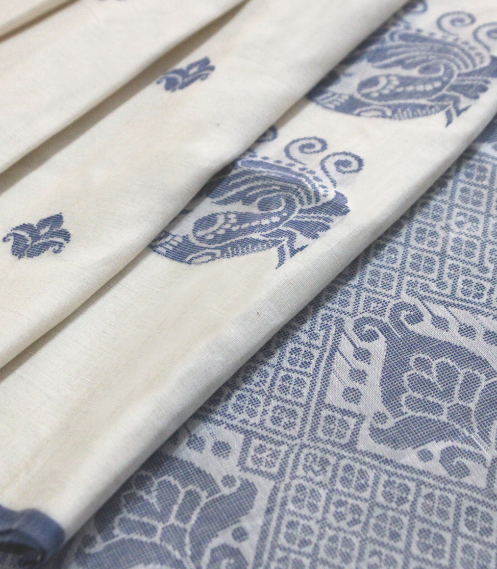 White soft Cotton with Blue motifs