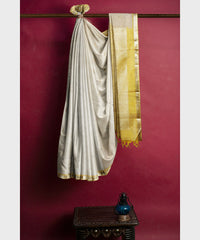 Ivory and yellow Kodiyala silk handloom saree