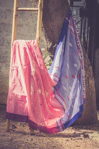 Cotton Chhaya saree with pink and blue