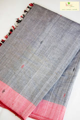 Cotton Chhaya saree in grey and maroon with gos buti