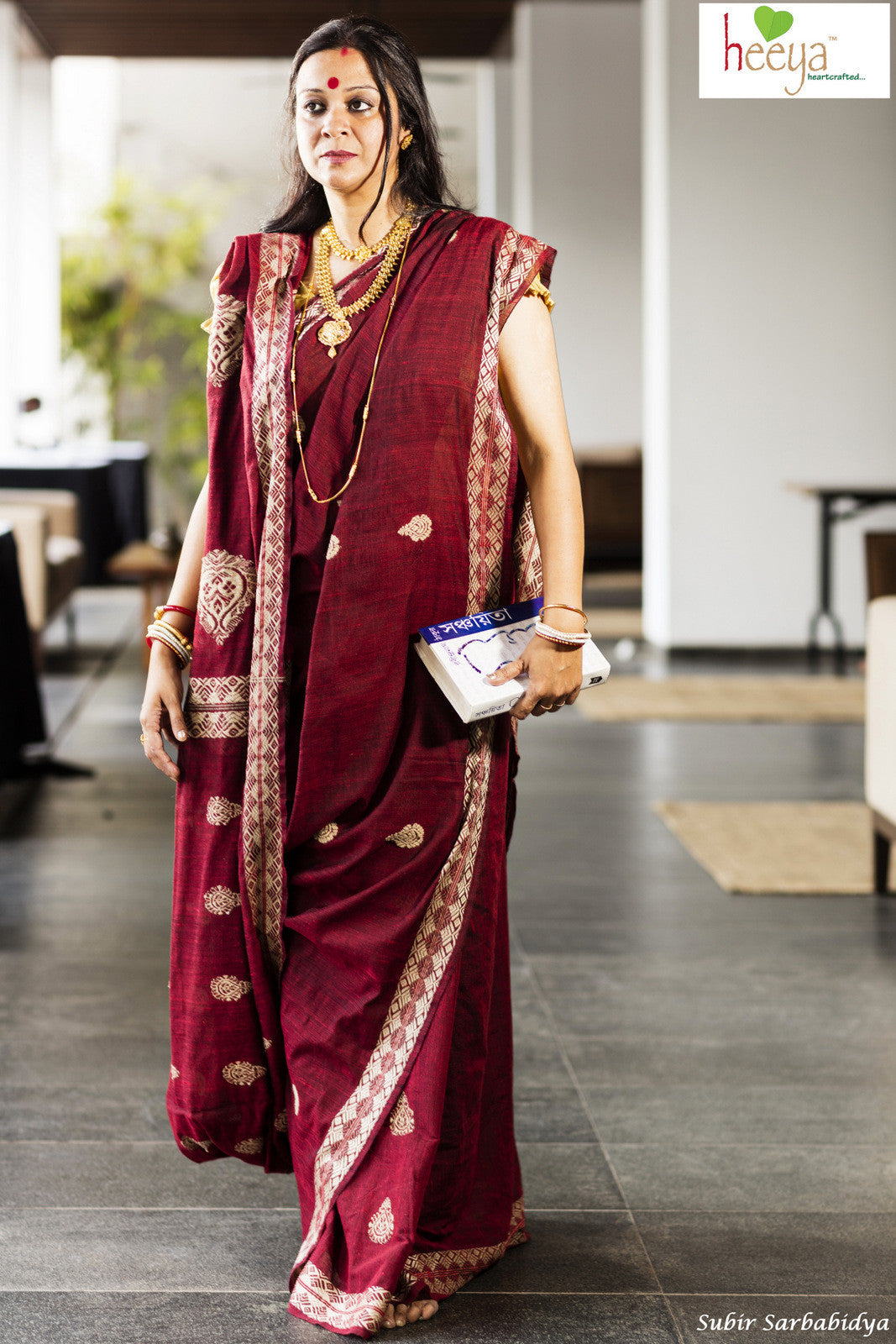 Maroon Eri cotton saree