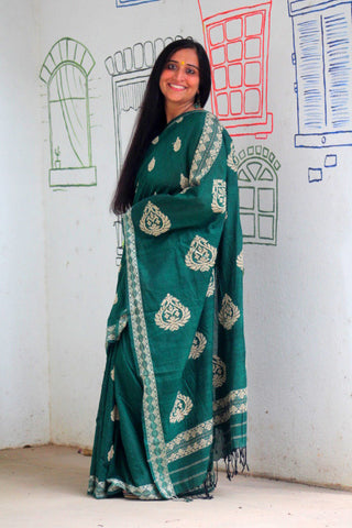 Mehndi green cotton Gero saree