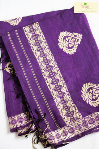 Green purple Mulberry silk saree