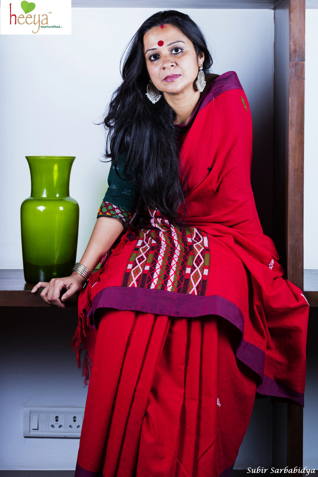 Vermillion colored Gero saree