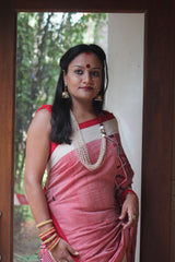 Pink cotton Gero saree