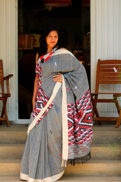 Grey cotton Gero saree