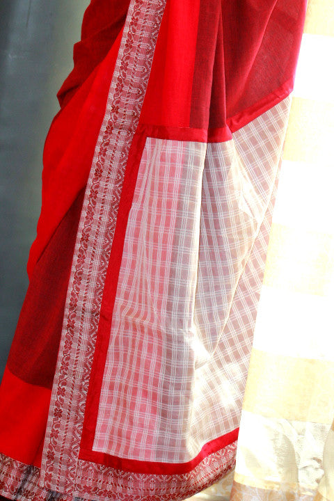Red cotton with raw mulberry silk weave