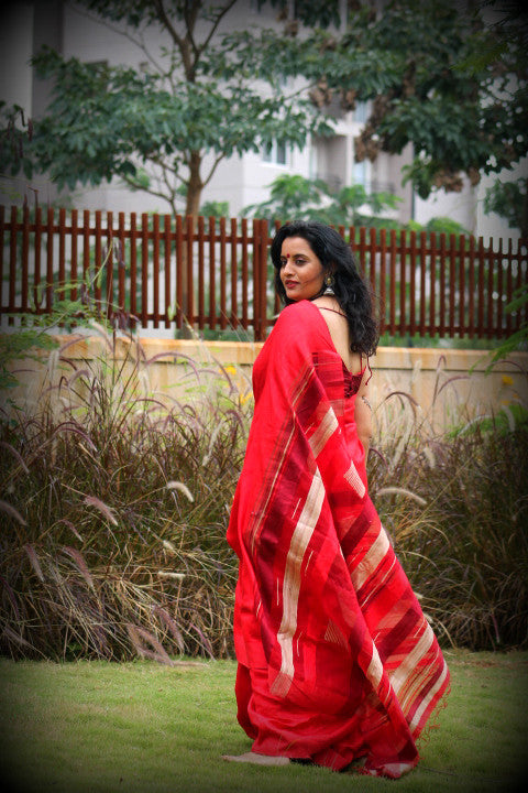 Red muga ghicha and dupion silk saree