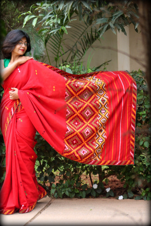 Mising cotton Red saree