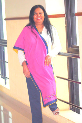 Pink cotton Mising woven stole