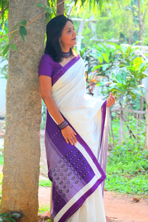 White cotton and purple Mizo weave