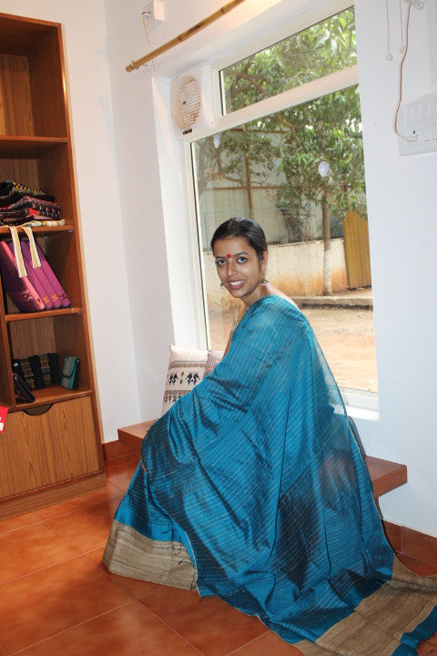 Blue dupion silk and Muga ghicha mekhela sador