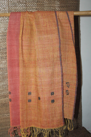 Blue and green checked cotton stole with woven Mising motif