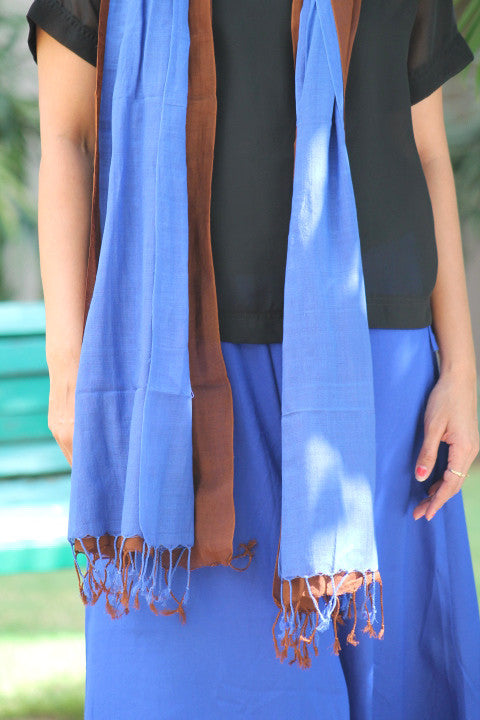 BLUE AND BROWN DOUBLE LAYERED COTTON STOLE