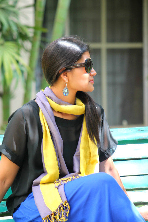 GREY AND YELLOW DOUBLE LAYERED COTTON STOLE