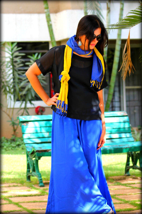 BLUE AND MUSTARD DOUBLE LAYERED COTTON STOLE