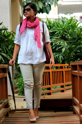 Pink short cotton stole