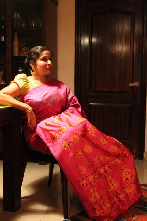 Pink purple Mulberry silk saree