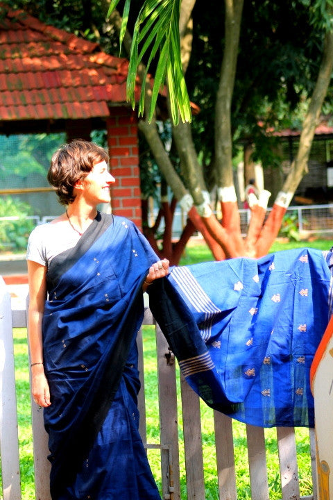 Navy blue cotton saree with Muga ghicha weaves