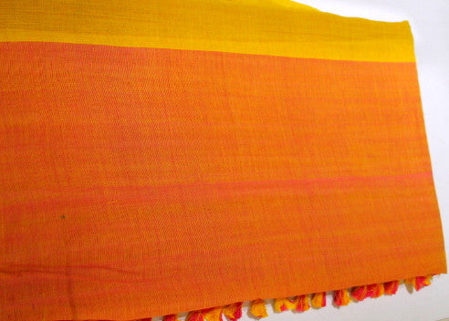 Mustard and orange Assamese Dohi saree