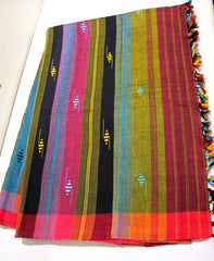 Cotton Chhaya saree with multicolored pallu and purple body