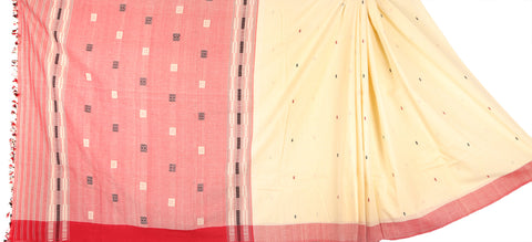 Red and grey mekhela chadar
