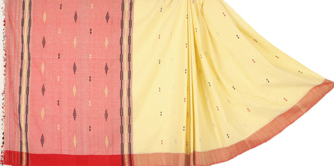 Off white and red cotton Chhaya saree