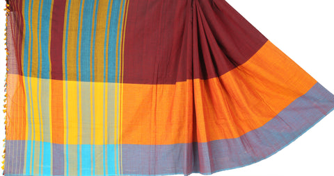 Mustard and red cotton Dohi saree
