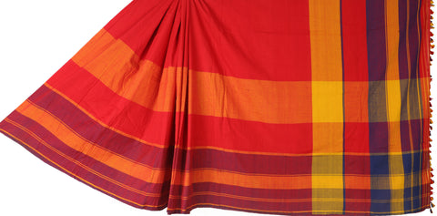 Maroon and pink cotton saree