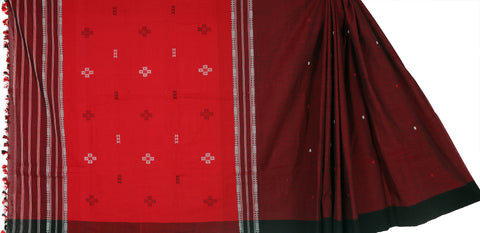 Red maroon cotton Chhaya saree