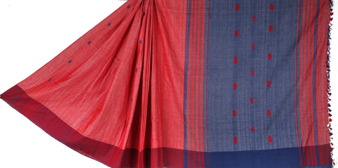 Blue purple cotton Chhaya saree with Muga ghicha buta