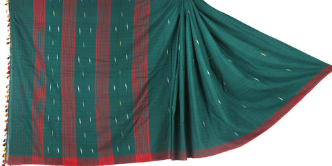 Green and red cotton Chhaya saree