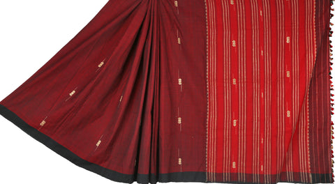 Red and maroon cotton Chhaya saree with Muga ghicha buta